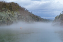 Scenic View Of Foggy River