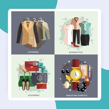 Businesswoman Clothes Icons Flat Set With Outwear Accessories Business Style Jewelry And Cosmetics Isolated Vector