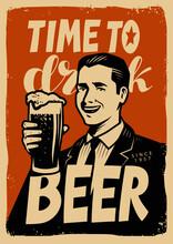 Retro Beer Poster. Vintage Sign Advertising Cold Ale. Pub Concept Vector Illustration