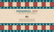 Retro Style Memorial Day Background Template Design. It Is Suitable For Banner, Poster, Advertising, Cover, Etc. Vector Illustration