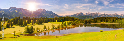 Fotografie, Obraz Panorama Landschaft in Bayern im Allgäu