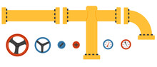 Valve Pipes And Sensors Isolated Vector Illustration. Pipe Sections Connected Design Elements.