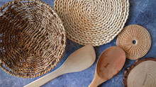 Top View Kitchen Ware With Wicker, Wicker On Table, Empty Space,