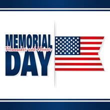 Memorial Day Poster With A Flag Of USA