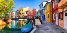 Most Colorful Traditional Fishing Town (village) Burano - Island Near Of Venice. Italy.