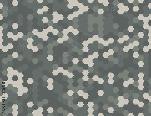 Canvastavla Seamless modern army camouflage hexagon gray pixel texture