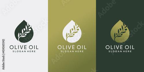 Obraz na plátně Olive oil logo design inspiration with creative concept