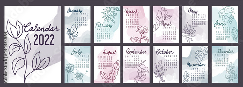 Fotografia A4 calendar or planner 2022 watercolor abstract with hand drawn botanic flowers