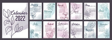 A4 Calendar Or Planner 2022 Watercolor Abstract With Hand Drawn Botanic Flowers. Cover And 12 Monthly Pages. Week Starts On Monday, Vector Illustration Pastel Colors A3 A2 A6