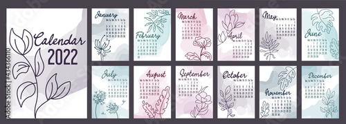 Foto A4 calendar or planner 2022 watercolor abstract with hand drawn botanic flowers