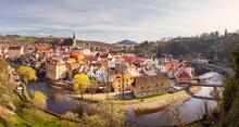 Cityscape Panorama Of Historical City Cesky Krumlov, Czech Republic
