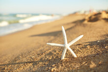 Close-up Of White Starfish On Sandy Beach With Blue Sea Water Waves At Background On Summer Clear Sunny Day, Selective Focus.