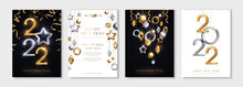 Christmas And New Year Posters Set With Hanging Gold And Silver 3d Baubles And 2022 Numbers. Vector Illustration. Winter Holiday Invitations With Geometric Decorations