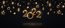 2022 Gold Numbers With Stars And Baubles Hanging On Black Background. Vector Illustration. Minimal Invitation Design For Christmas And New Year. Winter Holiday Decorations