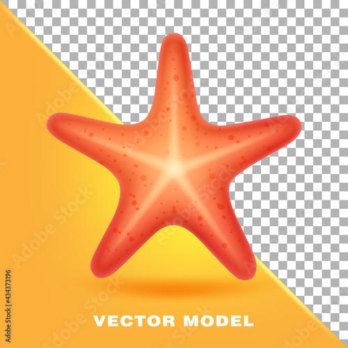 Billede på lærred Red starfish. Marine creature. Realistic vector illustration.