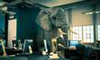 Leinwandbild Motiv elephant sitting inside an office. concept of unsolved problems.