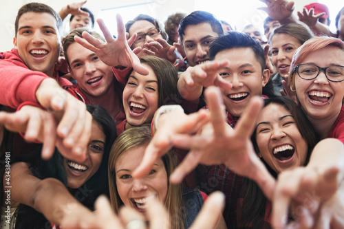 Tela Portrait of large group of students cheering at college sporting event