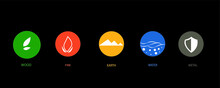 5 Elements Of The Cyclical Sign Of Nature. Water, Wood, Fire, Earth, Metal. Vector Design