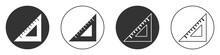 Black Triangular Ruler Icon Isolated On White Background. Straightedge Symbol. Geometric Symbol. Circle Button. Vector