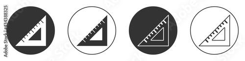 Obraz na plátně Black Triangular ruler icon isolated on white background