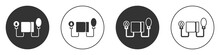 Black Blood Pressure Icon Isolated On White Background. Circle Button. Vector