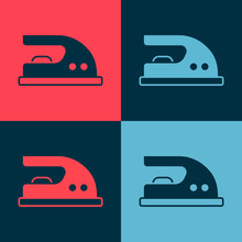 Pop Art Electric Iron Icon Isolated On Color Background. Steam Iron. Vector
