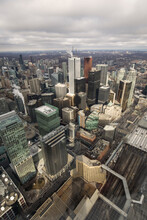 Beautiful View Of Toronto City From Above With Rainy Clouds In Background.  Canada