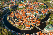 Panoramic View From Above Of Amazing Touristic Old Town Cesky Krumlov And River Vltava, Czech Republic