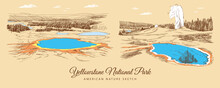 Color Sketch Of Yellowstone National Park's Nature And Lakes, USA, Hand-drawn.