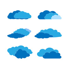 Silhouettes Of Blue Clouds Of Different Shapes On A White Background.