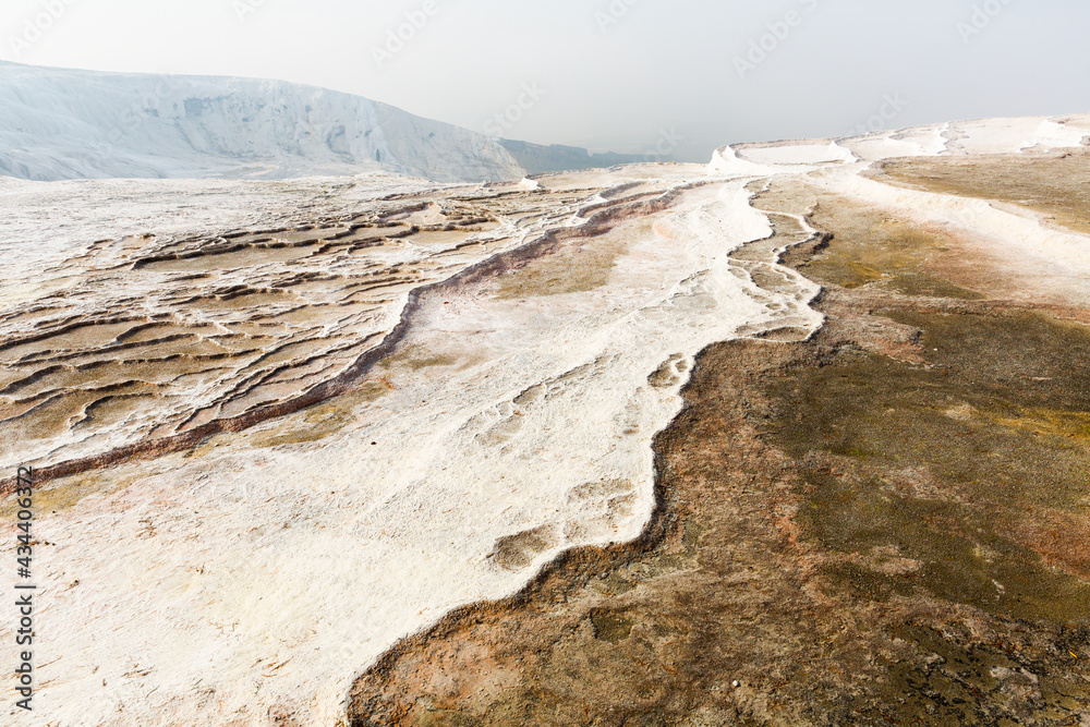 The travertines mountains of Pamukkale are a natural attraction in Turkey...
