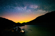 The Milky Way Over Scafell Peak & Wast Water In Lake District National Park, Cumbria, UK