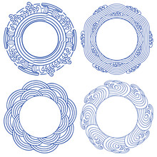 Set Of Round Frames With Sea Waves And Ornaments. Vintage Style For Chinese Painting On Porcelain.