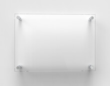 Blank A4 Transparent Glass Office Corporate Signage Plate Mock Up Template, Clear Printing Board For Branding, Logo. Transparent Acrylic Advertising Signboard Mockup Front View. 3D Rendering