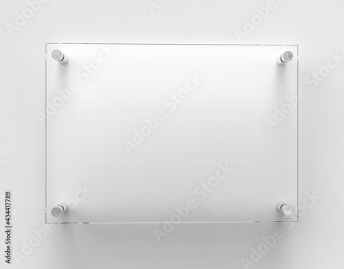 Fotografering Blank A4 transparent glass office corporate Signage plate Mock Up Template, Clear Printing Board For Branding, Logo