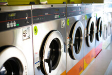 Close-up Of Washing Machine In Laundry