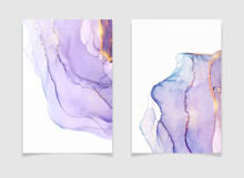Abstract Purple Liquid Watercolor Background With Golden Stains. Violet Geode Hand Drawn Flow Alcohol Ink Effect. Vector Illustration Design Template For Wedding Invitation