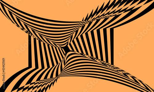 Fotografering black pattern with optical illusion on orange background modern design concept
