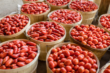 Romano, Plum Tomatoes For Sale At A Farmers Market By The Pack Or Bushel.