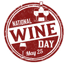 National Wine Day Grunge Rubber Stamp