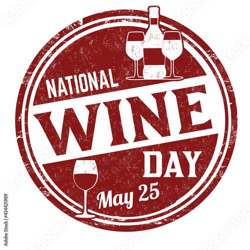 Fototapeta National wine day grunge rubber stamp