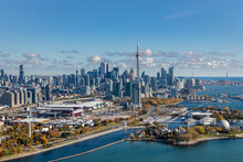 A View Of The Toronto City Skyline From The West Showing Ontario Place And Exhibition Place