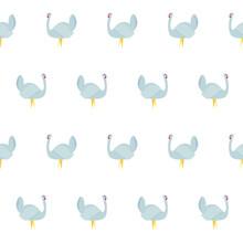 Turkey Seamless Pattern. Grey Farm Animal On White Art Design Stock Vector Illustration For Web, For Print