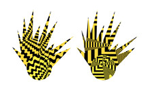 Modern Icons Of Suns With Patterns Of Optical Illusion On A White Background Symbol Of Warmth And Summer
