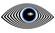 An Eye In The Style Of Op-art In The Pupil Of Which Another Modern Abstraction Is Reflected