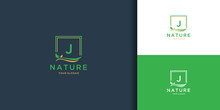 Letter J Square Leaf Logo. Nature Tree Leaf Logo