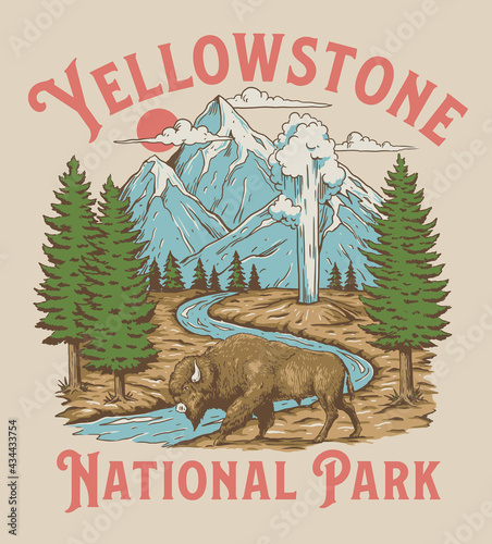 Obraz na plátne Vintage Yellowstone National Park Bison Mountain Geyser Scene