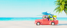 Red Car With Luggage And Beach Accessories Ready For Summer Vacation. Creative Summer Concept Idea With Copy Space 3D Render 3D Illustration