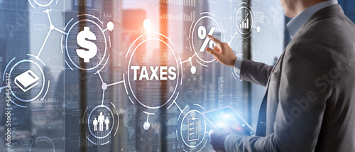 Slika na platnu Concept of taxes paid by individuals and corporations such as VAT, income tax and property tax