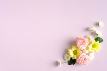 Floral Composition On Pink Background. Happy Mother's Day, Birthday, Anniversary Concept.